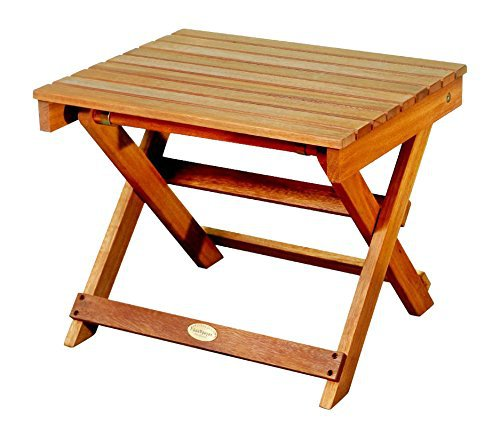 LuuNguyen Outdoor Hardwood Folding Side Table, Natural Wood Finish