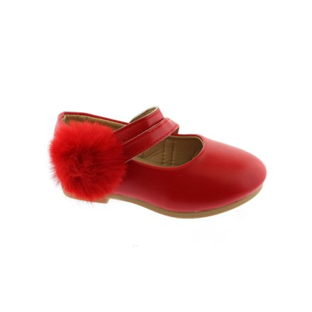 Kate Little Girls Red Double Strap Pom-Pom Mary Jane Shoes](Mary Jane Red Shoes)