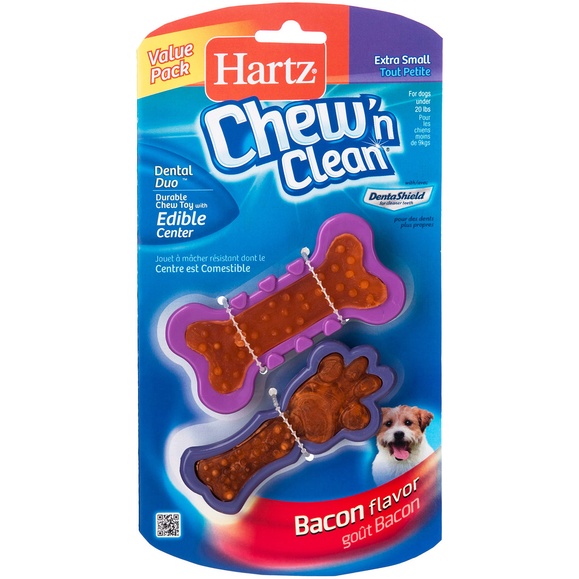 Hartz Detnal Duo Bone-Shaped Toy and Treat Combination for Small Dogs, 2-Pack