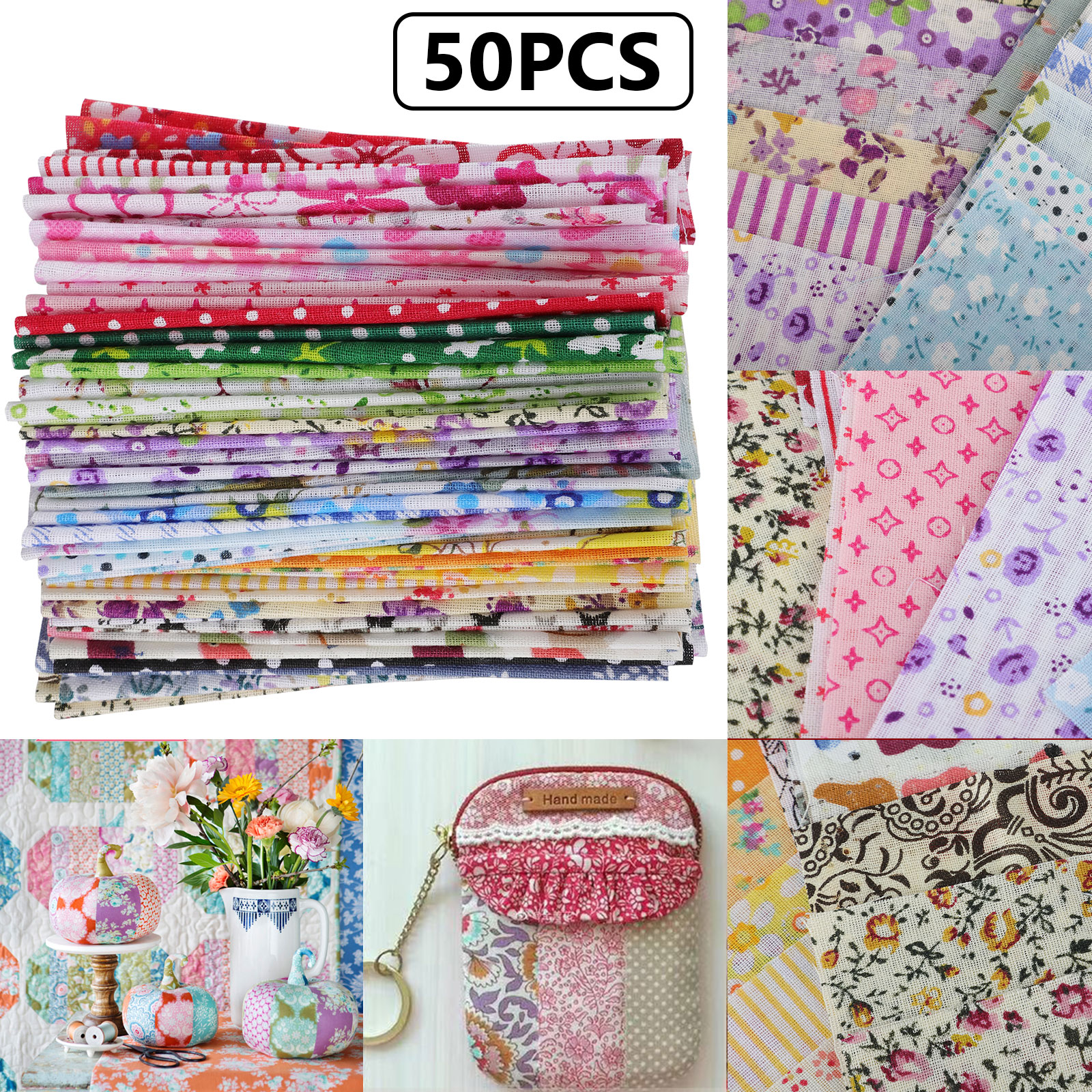 100Pcs Penta Angel 10 x 10cm Assorted Pre-Cut Printing Cotton Cloth Square Bundle Quilt Craft Fabric Patchwork DIY Sewing Scrapbooking Quilting Dot Pattern