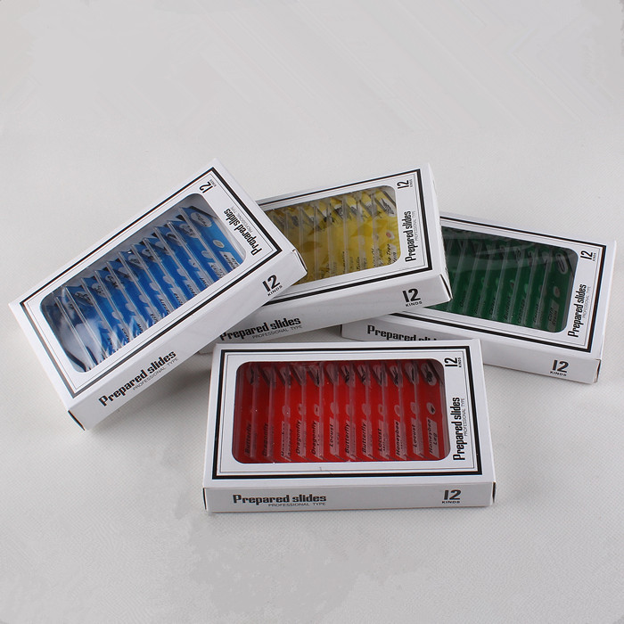 12pcs 4 Color Kids Plastic Prepared Microscope Slides of Animals Insects Plants Flowers Sample Specimens