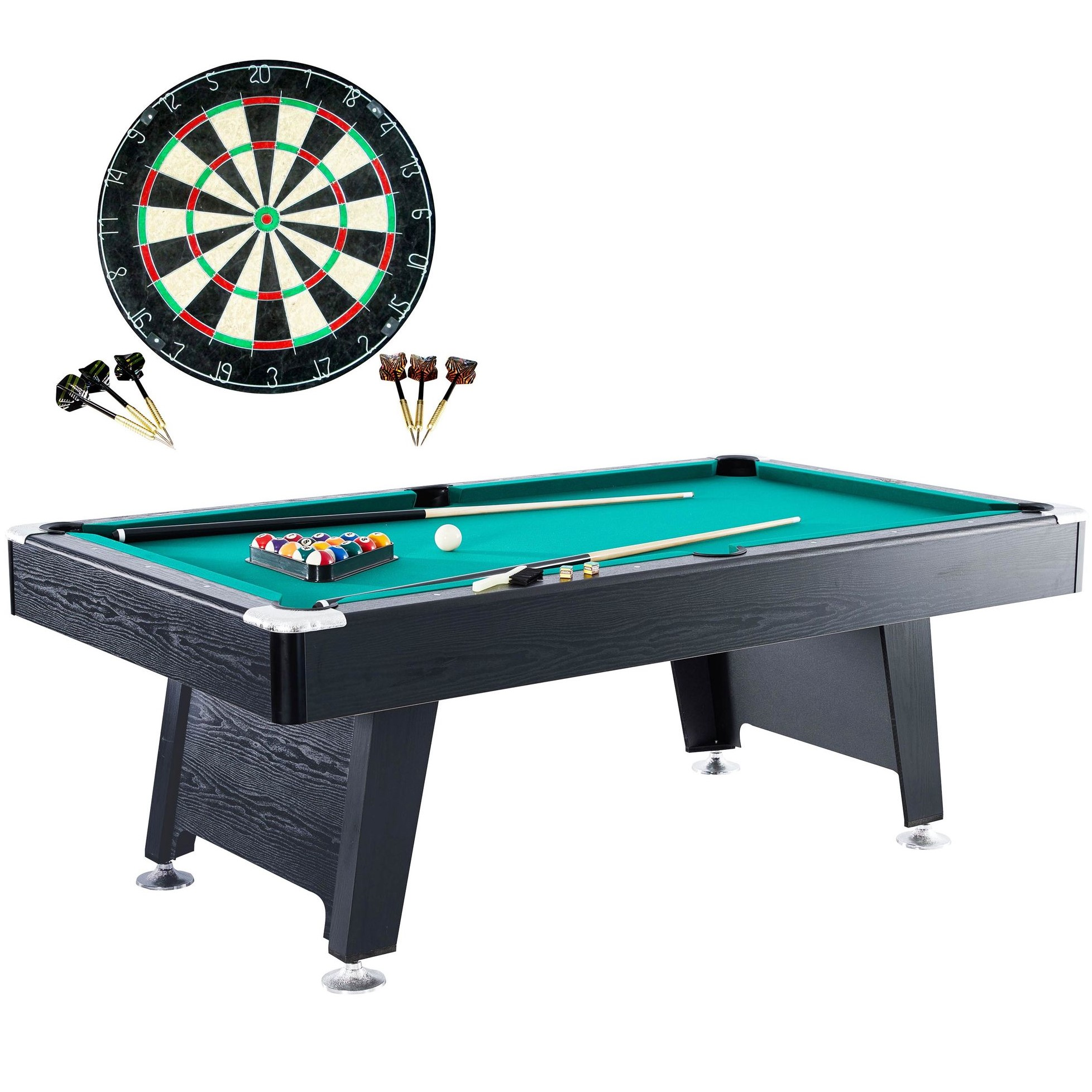 Barrington 84 Inch Arcade Billiard Table with Bonus Dartboard Set, Green Cloth