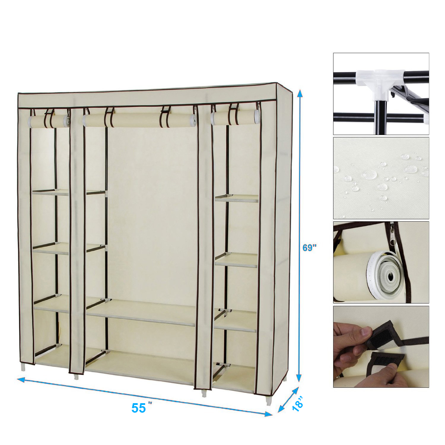 "54"" x 69"" Portable Closet Storage Organizer Wardrobe Clothes Rack with Shelves"