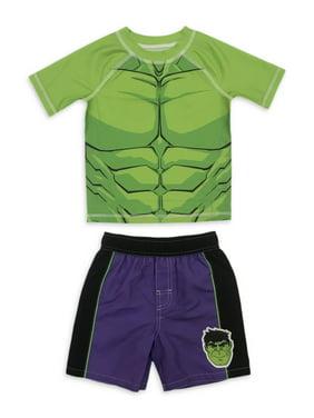 The Incredible Hulk Toddler Boy Rashguard & Swim Trunks, 2pc Set