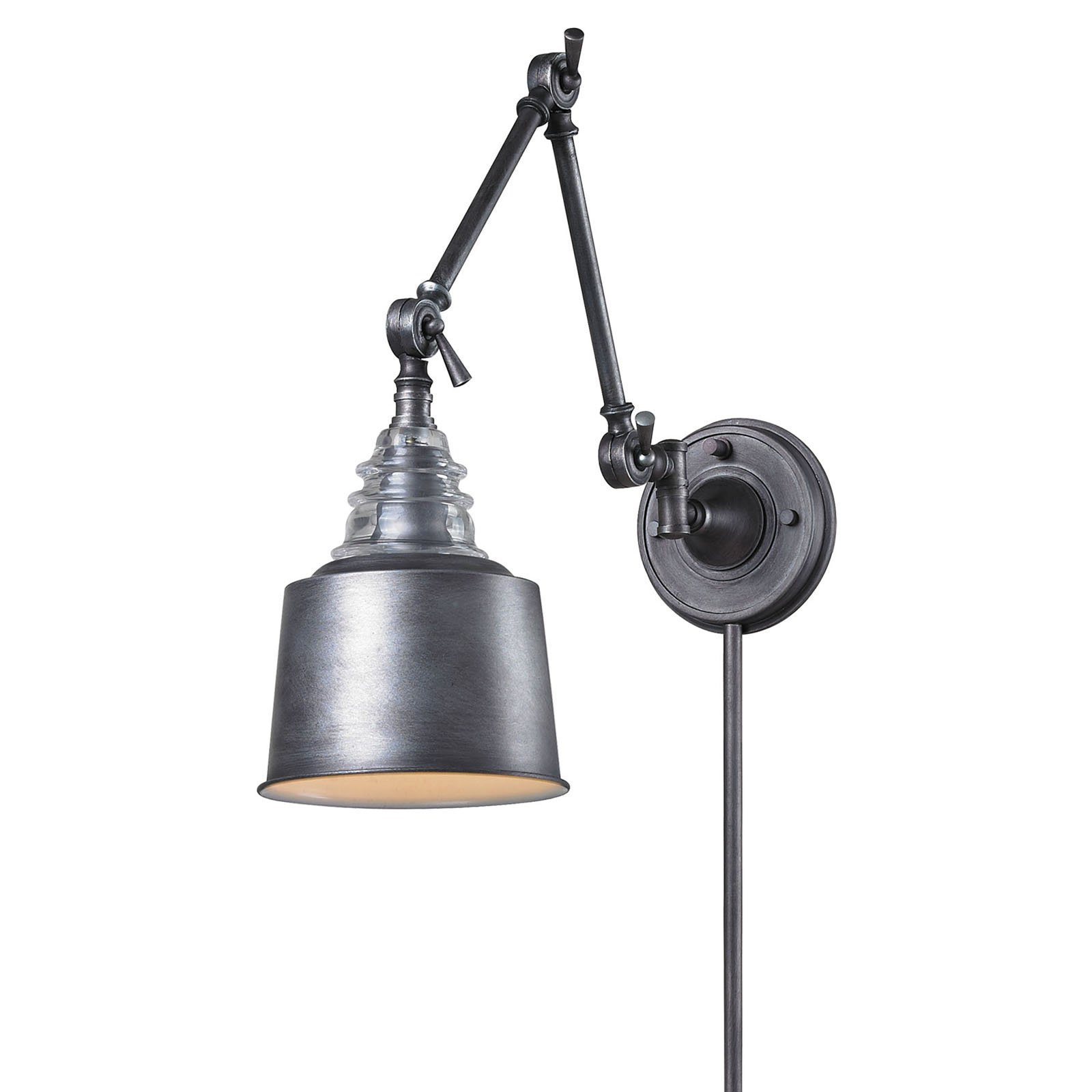 Elk Lighting Insulator Glass 668 Swing Arm Light with Shade by Elk Lighting