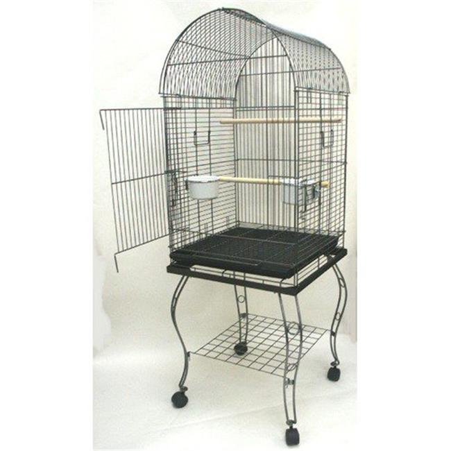 Dome Top Parrot Cage with Stand in Antique Silver
