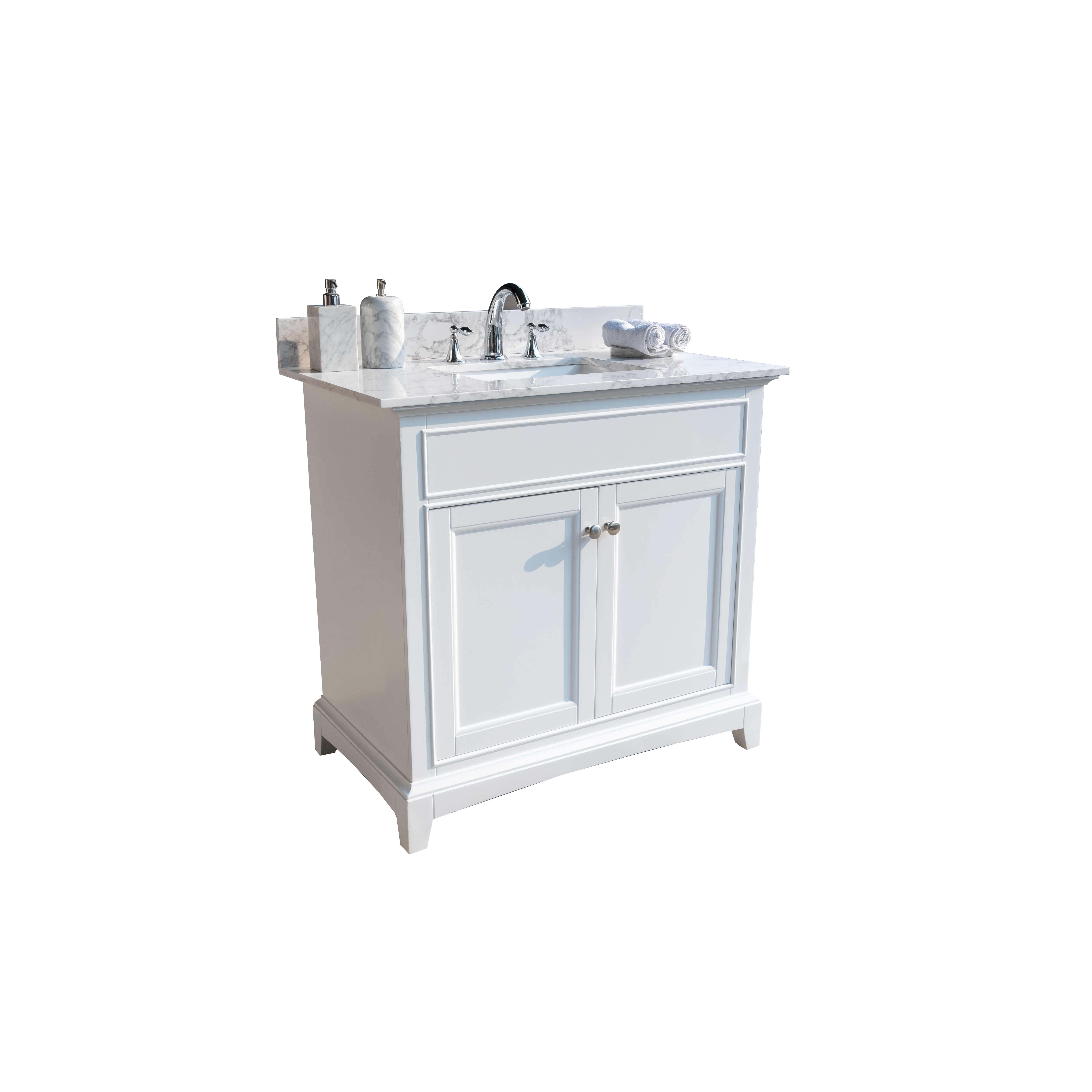 Montary 37inch Bathroom Vanity Top Stone Carrara White New Style Tops With Rectangle Undermount Ceramic Sink And Back Splash For Bathrom Cabinet Walmart Com Walmart Com