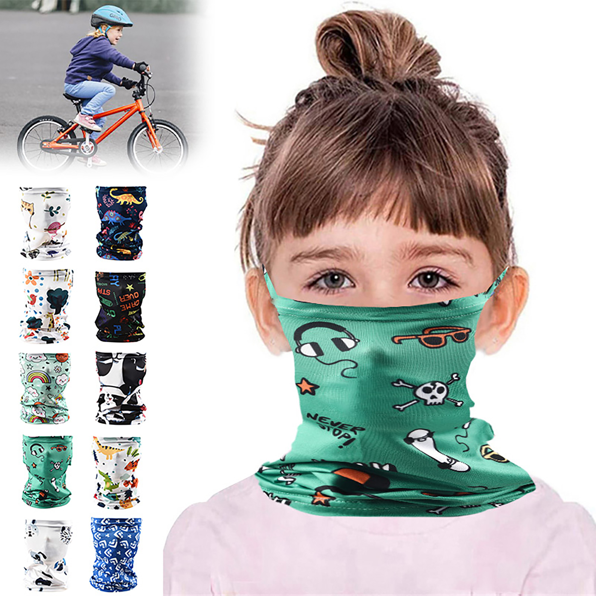 9 Pieces Kids Neck Gaiter Children Face Bandanas UV Sun Protection Face Cover Scarf Headband Balaclavas for Cycling Sports Outdoor