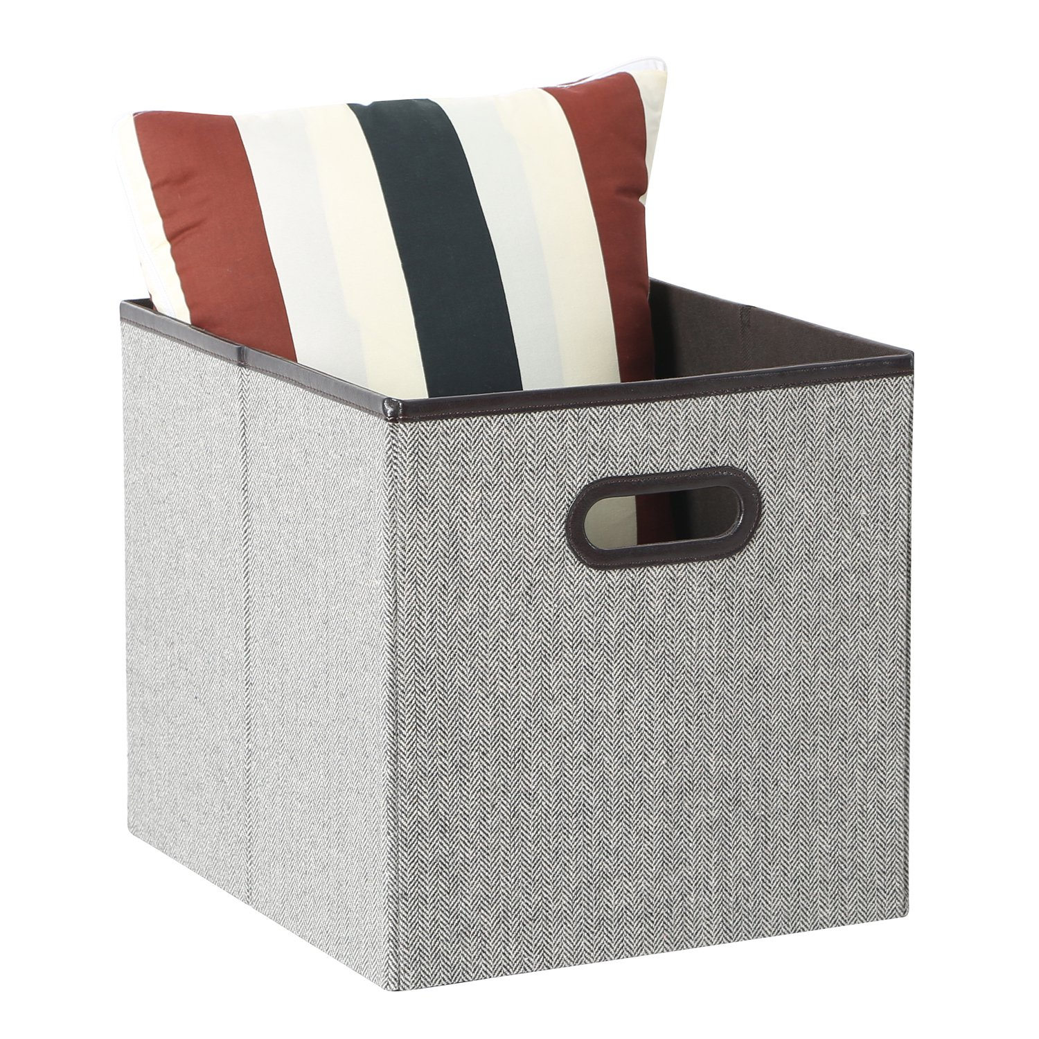 Tidy Living   Fabric Bin Faux Leather Accent Foldable Storage Organizer  Large