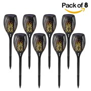 8-Pack 96 LED Waterproof Flickering Flames Solar Tiki Torches Light Garden Light
