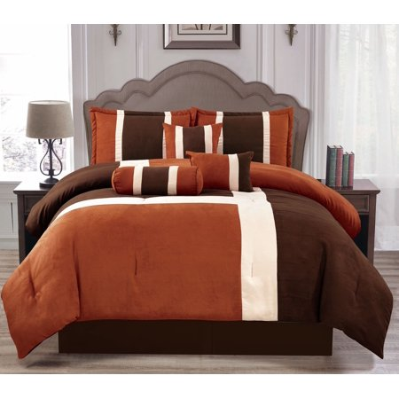 Brown Brick 7 Piece Comforter Set, Brown Rust Colored Bedding