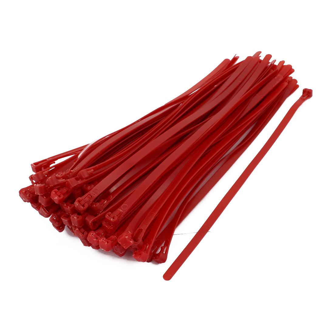 100Pcs 8x300mm Nylon Wire Tie Fastener Strap Adjustable Reusable Hook Loop