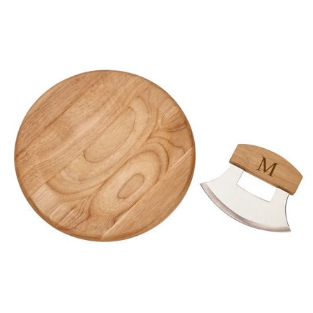 Personalized Personalize with Text Stainless Steel Ulu Knife with Wooden Round Board
