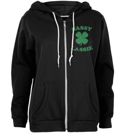 St. Patricks Day Sassy Irish Lassie Womens Full Zip Hoodie ()