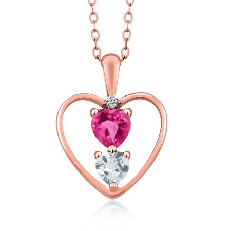 0.84 Ct Red Garnet Sky Blue Aquamarine 18K Rose Gold Plated Silver Pendant