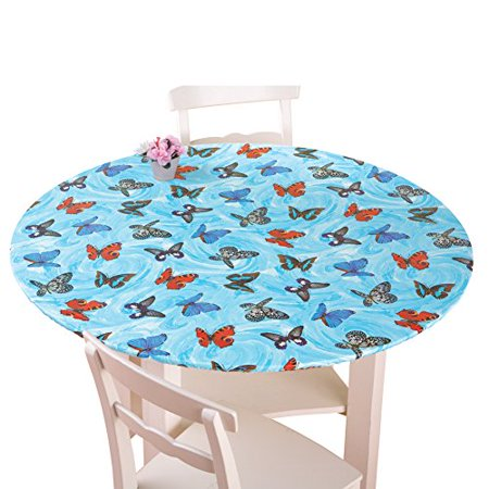 Collections Etc Fitted Elastic Table Cover, Round, Butterflies - Fitted Table Covers
