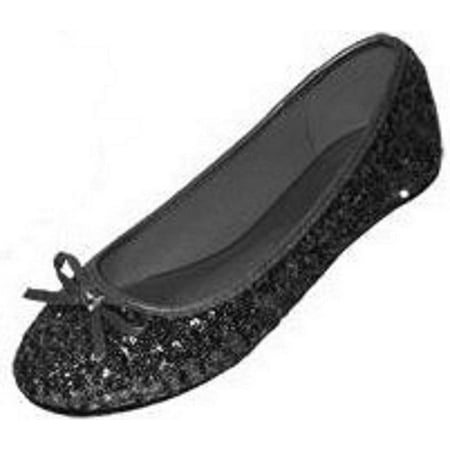 New Womens Sequins Ballerina Ballet Flats Shoes 4 Colors Available (5/6, Black Sequins 2001)](Black And Gold Sequin Shoes)