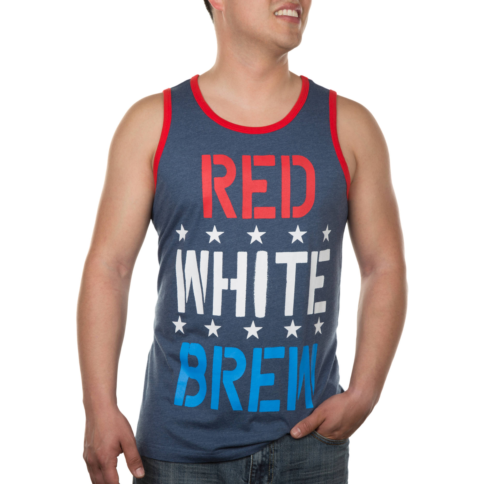 """Red White Brew"" Humor Patriotic Men's Ribbed Heathered Tank"