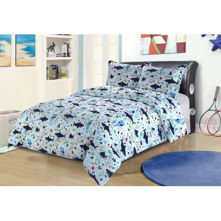 Twin Shark Print Bedding Comforter Bed Set Blue Green Red Ocean Sea Life (Ocean Comforter Set)