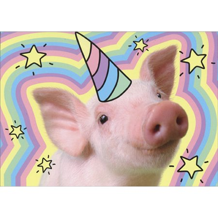 Unicorn Birthday Card - Avanti Press Piglet Unicorn Pop Up Standout Funny Birthday Card