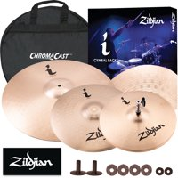 "Zildjian I Series Essentials Plus Cymbal Pack - 14"" Hi Hats, 14"" Crash, and 18"" Crash Ride w/ Cymbal Bag, & Felts"