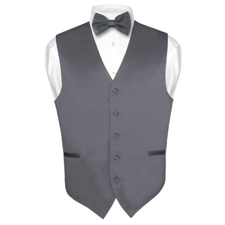 Men's Dress Vest & BowTie Solid CHARCOAL GREY Color Bow Tie Set for Suit or Tux ()