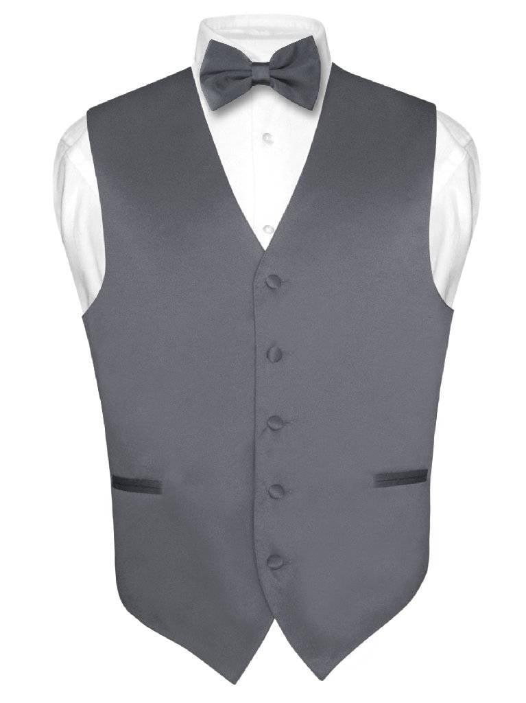 Men's Dress Vest & BowTie Solid CHARCOAL GREY Color Bow Tie Set for Suit or Tux
