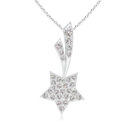 Star Cluster Pendant (Valentine Jewelry gift - Cluster Diamond Shooting Star Pendant in 14K White Gold (1.7mm Diamond) - SP1197D-WG-IJI1I2-1.7)