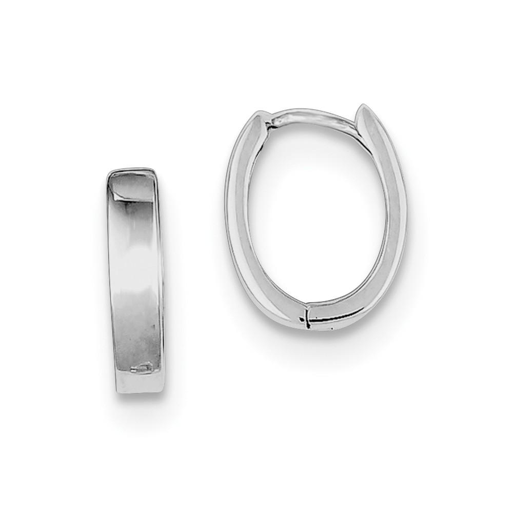 Sterling Silver Rhodium Polished Hinged Hoop Earrings (0.5IN x 0.3IN )