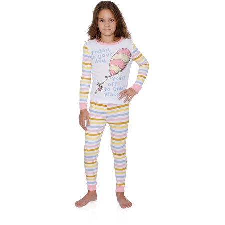 Dr Seuss Baby Clothes - Dr Seuss Amazing Girls Cotton Pajama Set, Today is Your Day, Size: 10