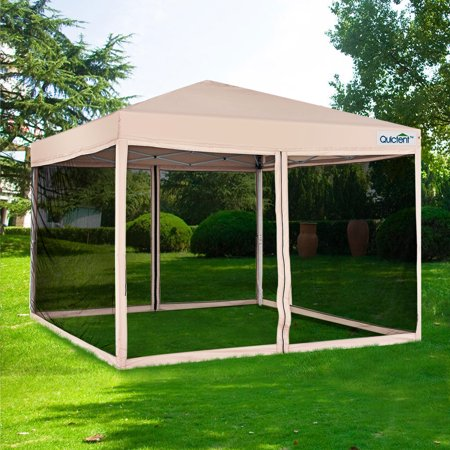 Quictent 10x10 Ez Pop up Canopy with Netting Screen House Tent Mesh Side Walls With Roller Bag (Tan)