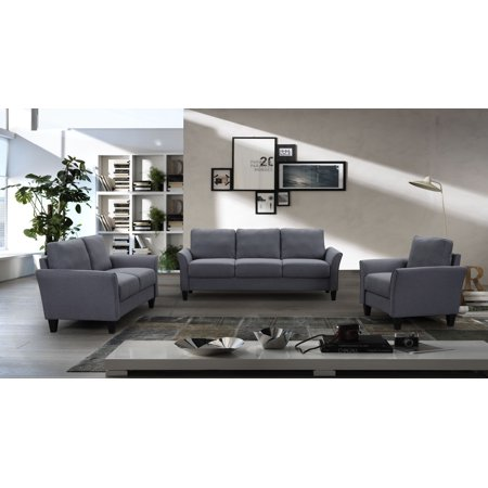 Modern Sectional Couch and Sofa Set for Family Living Room, 3 Piece Grey Sectional Sofas Set with Removable Cushions, 80'' 3 Seat Sofa, 55'' Loveseat and Single Armchair, 500lbs, Grey, A26