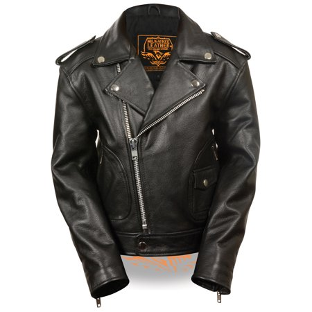 milwaukee leather childrens biker jacket w/patch pocket styling black ()