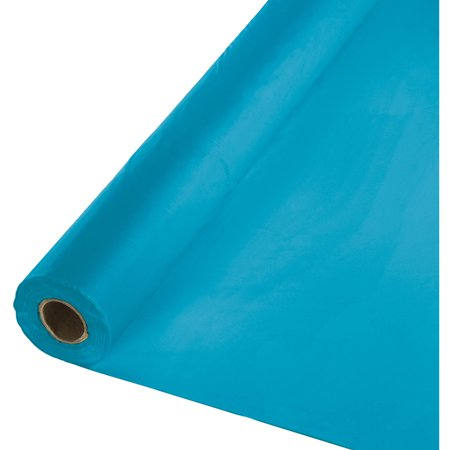 Turquoise Blue Plastic Banquet Roll, 100ft x - Blue Tablecloth Roll