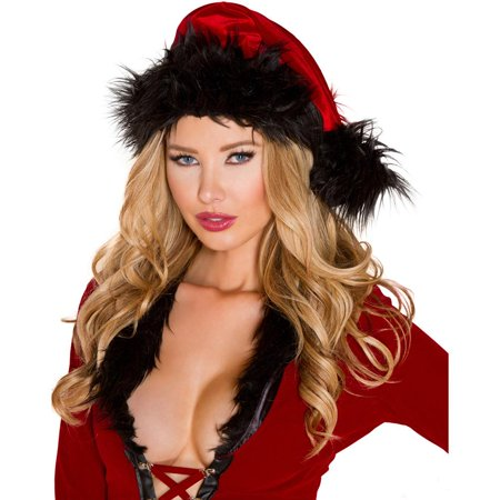Faux Fur Trimmed Red/Black Christmas Santa Hat Costume Accessory - Christmas Theme Costume