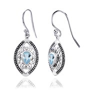 Dangling 0.94 Ctw Sky Blue Topaz 925 Sterling Silver Pear Dangle Earrings for Women By Orchid Jewelry