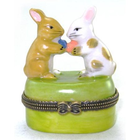 Two Little Bunnies Carrying Easter Eggs Porcelain Hinged Trinket Box