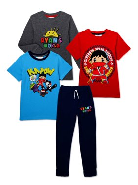 Ryan's World Boys 4-7 Short Sleeve T-Shirts, Long Sleeve T-Shirts, and Jogger Sweatpants, 4-Piece Outfit Set