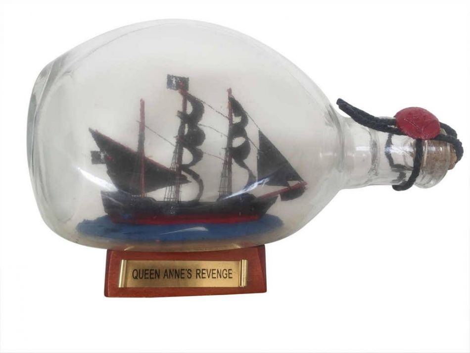 "Blackbeard's Queen Anne's Revenge Pirate Ship in a Bottle 7"" Wood Pirate Ship In A Bottle Boat In A Bottle... by Handcrafted Nautical Decor"
