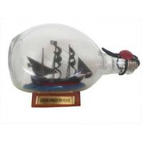 """Blackbeard's Queen Anne's Revenge Pirate Ship in a Bottle 7"""" - Wood Pirate Ship In A Bottle - Boat In A Bottle - Blackbeards Queen Annes Ship - Pira"""