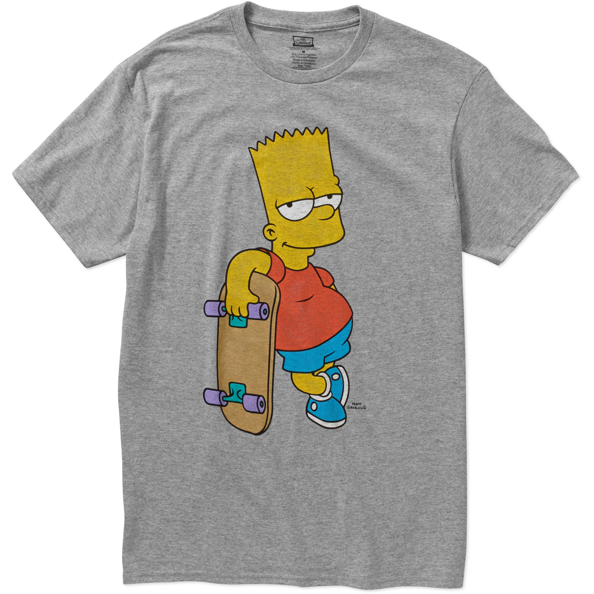 "The simpsons ""bart simpson skateboard"" mens graphic tee"