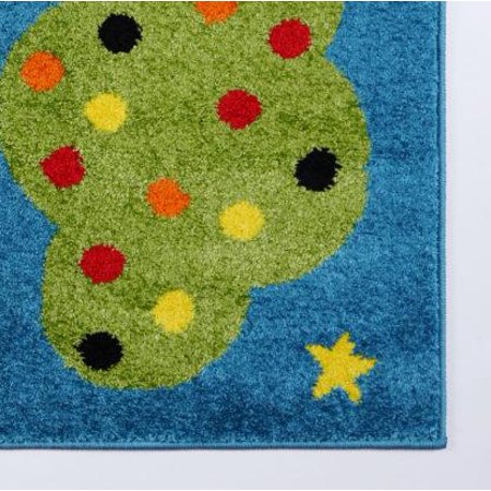 """Ladole Rugs Train and Sky Theme Cartoon Style Polypropylene Kids Area Rug Carpet in Blue and Mutlicolor, 4x6 (3'11"""" x 5'3"""", 120cm x 160cm) - image 4 of 6"""