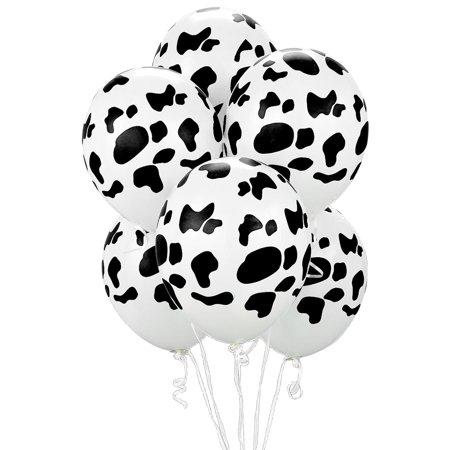 Cow Print Latex Balloons, Black & White, 11in, 6ct](Cow Print Balloons)