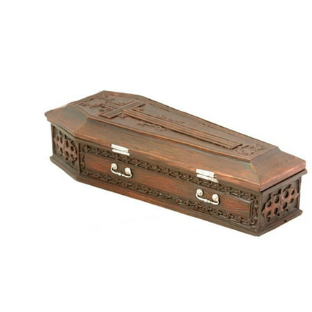 Brown Vampire Coffin Casket with Cross Jewelry Trinket - Brown Trinket Box