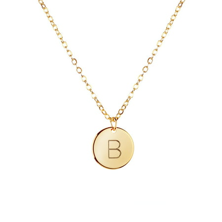 Gold Initial Necklace Initial Disc Necklace Mothers Day Gift Bridesmaid Jewelry Gift for Her (B)