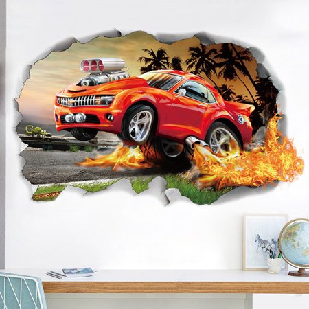 Outgeek Sports Themed Wall Decals Decorative Removable 3D Car Wall Stickers Mural Sticker Wall Art Decor Birthday Gift Decorations for Kids Boys Room Child Bedroom - Cars Birthday Decorations