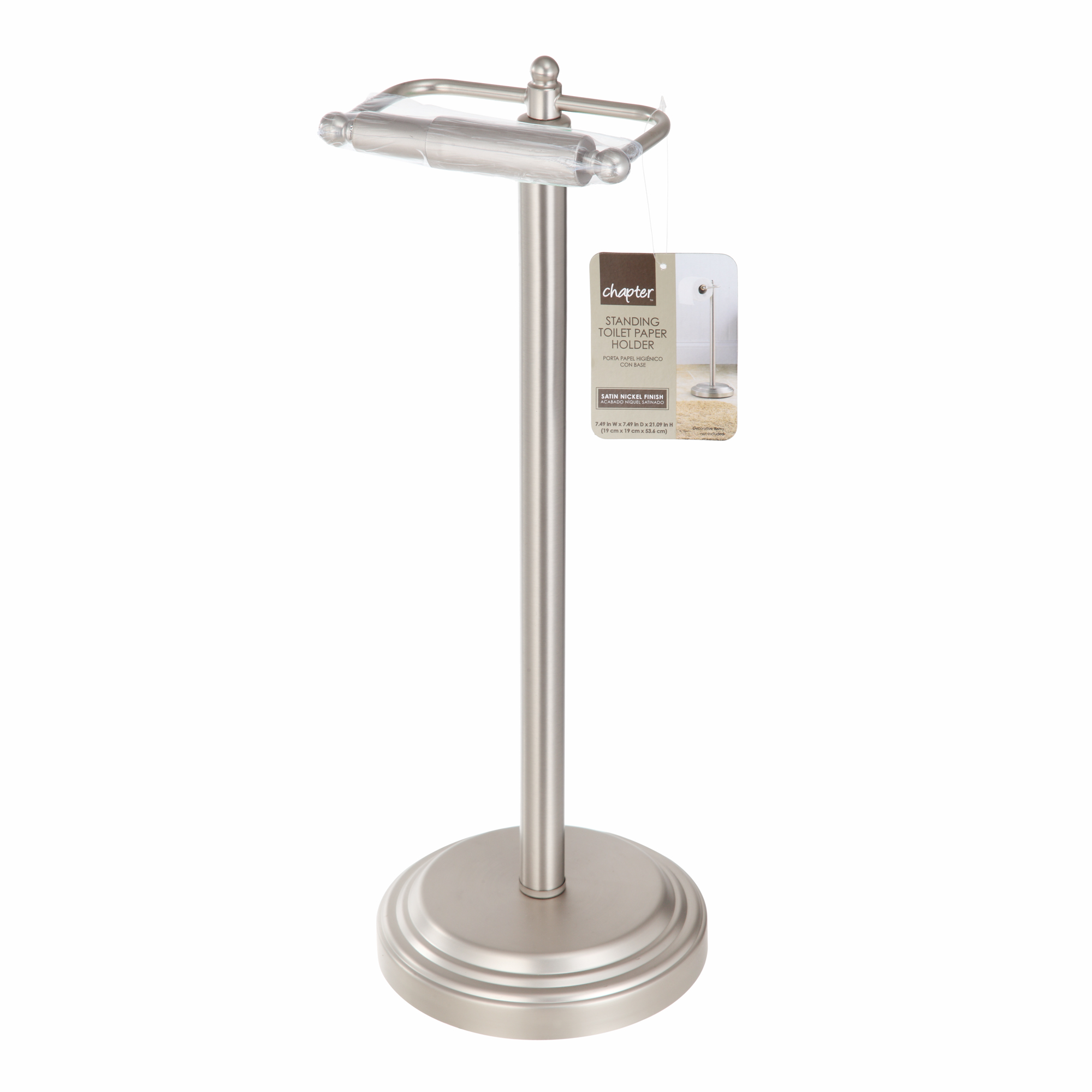 Chapter Standing Toilet Paper Holder, Satin Nickel Finish