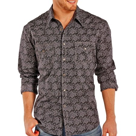 Rock & Roll Cowboy Men's and Paisley Patterned Long Sleeve Shirt Black Large ()