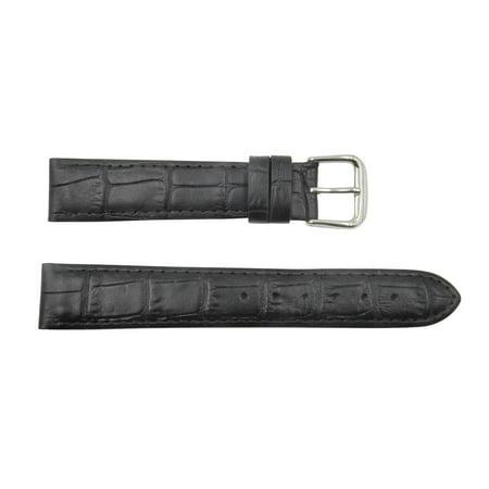 Crocodile Skin Watch Band - Genuine Leather Square Crocodile Grain 18mm Black Watch Strap