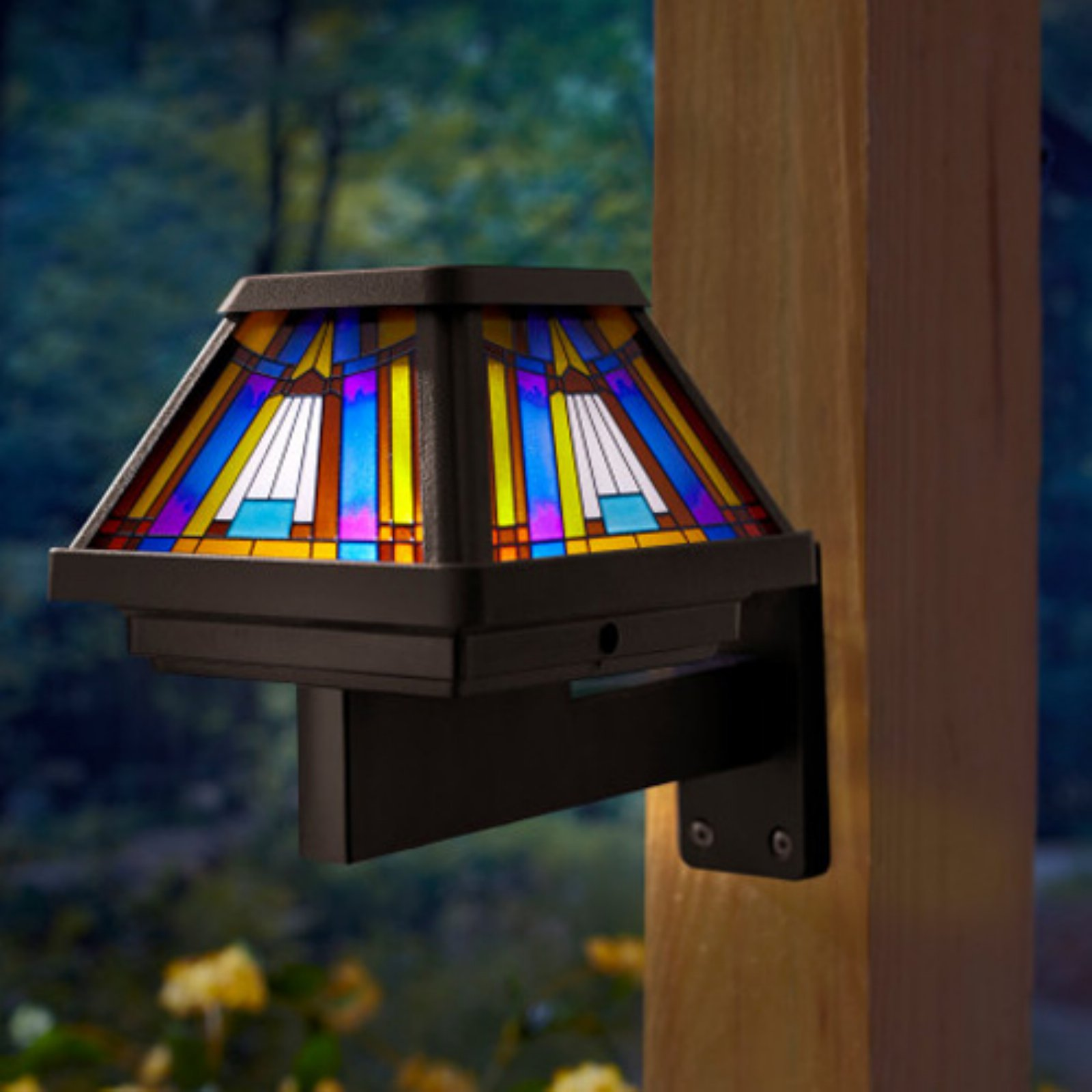Moonrays 91241 Inglenook Premium Output Solar Powered Stained Glass LED Post Cap Light, Brushed Copper Finish